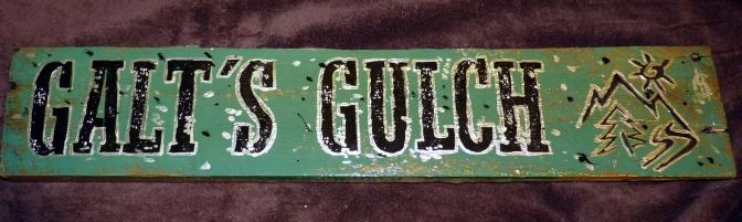 Silver ringed letters, Galt's Gulch logo, dollar sign